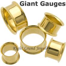 Joyería al por mayor del cuerpo en China PVD Gold Double Flares Ear Tunnels