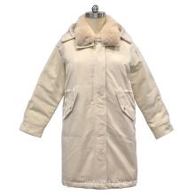 2020 winter women real rabbit fur collar hooded solid down coat