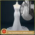 RASA-23 2015 Real muestra sin mangas de vestido de novia formal cubrió el botón de perlas rebordeadas corpiño vestido de novia de encaje para bodas