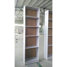 White Finish Wood Wall 5-Tier Corner Bookshelf
