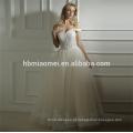 Fornecimento de fábrica personalizado feito Primavera novo design de uma palavra até o chão vestido de noiva vestido de noiva
