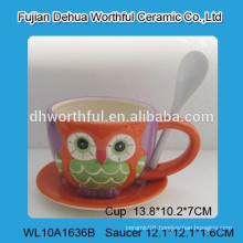 Fabulous design ceramic coffee cup and saucer set with owl painting