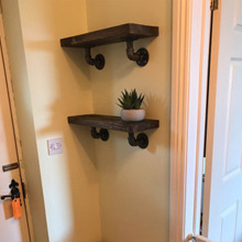 Black cast iron fittings wall mounted shelf