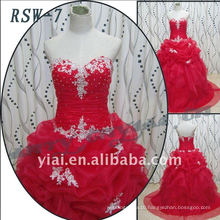 RSW-7 2011 Hot Sell New Design Ladies Fashionable Elegant Customized Real Red Ball Gown Bridal Dress