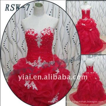 RSW-7 2011 Venta caliente nuevo diseño de las damas de moda elegante personalizado vestido de novia de color rojo real vestido de novia
