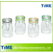 4-Piece 100ml Square Glass Jars Set com tampa de vidro articulada