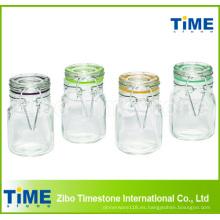 Juego de 4 piezas de vidrio cuadrado de 100 ml con tapa de vidrio con bisagras