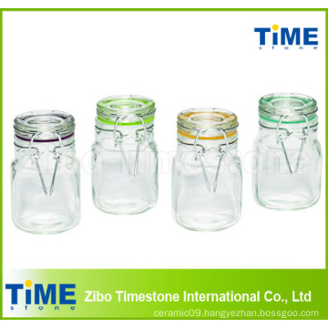4-Piece 100ml Square Glass Jars Set with Hinged Glass Lid