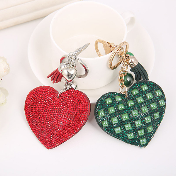 Heart Shaped Rhinestone Leather Keychain