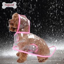 Claro perro mascota gato impermeable ropa cachorro Glisten barra sudadera con capucha impermeable lluvia chaquetas