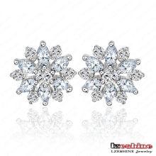 14*14mm Snowflake Cubic Zirconia Stud Earrings (CER0006-B)
