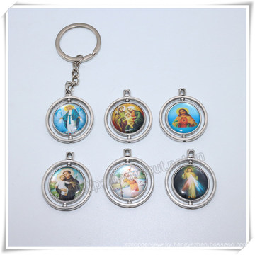 Professional Metal Round Keychain/Virgin Mary Keyring/Cross Key Holder (IO-ck114)