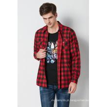 algodão casual impresso verifique camisas de manga longa dos homens
