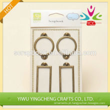 etiqueta do metal retangular e circular bronze suporte foto suporte