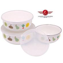 New Style Beautiful 3PCS Enamel Salad Bowl with Lids (211D)
