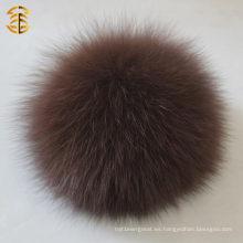 Bola caliente de la piel de la venta para la decoración Bolso real de la piel del zorro de los pompones de la piel Keychian