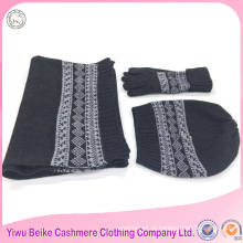 Tecido de acrílico kintted chapéu de lenço e conjunto de luvas