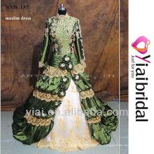 RSW157 красочные с длинными рукавами 2014 мусульманские картинки для новобрачных мусульманин свадебное платье