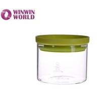 Frasco claro do armazenamento do alimento do vidro de Handblown com tampa plástica