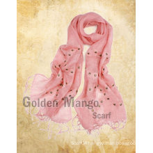 spring fashion linen scarf with embroidery