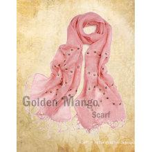 Весенний модный льняной платок с вышивкой