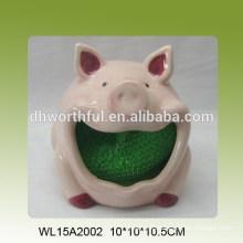 Kitchen scouring pad pink pig design ceramic sponge holder
