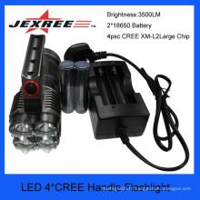 Hit vend 4 CREE torche à main torche éclairage portable rechargeable 3500lm fabriqué en Chine