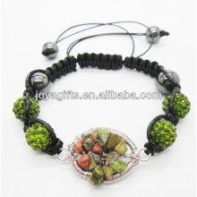 Bracelet tressé tissé à gemme de pierres précieuses