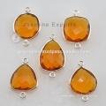 Wholesale Citrine Quartz Bezel Setting Connecteurs Gemstone Jewelry Fabricant Et Fournisseurs