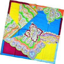 Lady Fashion Paisley Printed Square Silk Scarf (HC1315-4)