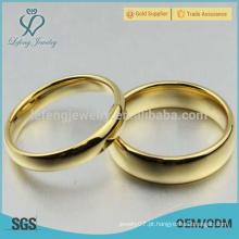 Alto espelho polido ouro tungstênio anéis casal