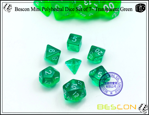 Bescon Mini Polyhedral Dice Set of 7--Transparent Green-2