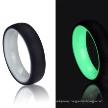 2020 New Products Matte Finish Luminous Glowing Ring Black Carbon Fiber Glow Ring in The Dark Fashion Jewelry
