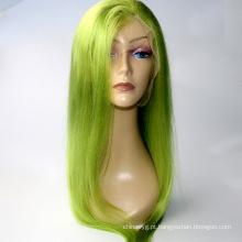 """Em estoque 10 """"-24"""" luz verde rendas frente perucas 130% densidade brasileira cabelo remy humano peruca do cabelo do bebê"""