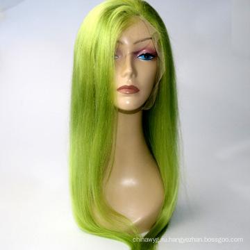 """В наличии 10 """"-24"""" светло-зеленые парики фронта шнурка 130% -ая плотность бразильский человеческий парик волос remy волос ребенка"""
