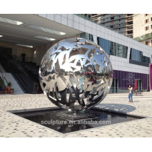 Urban sculpture high polished stainless steel hollow sphere metal sphere