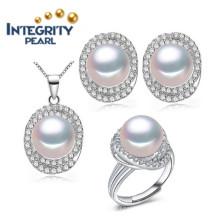 AAA 3 colores Nueva perla de diseño conjunto 9-10mm perla de agua dulce natural conjunto