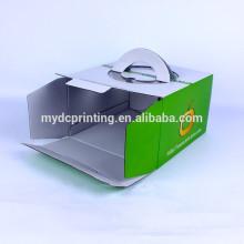 Emballage personnalisé de gâteau de boîtes ondulées d'impression avec la poignée