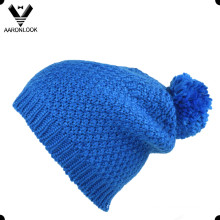Chapéu de inverno quente malha POM-POM com forro