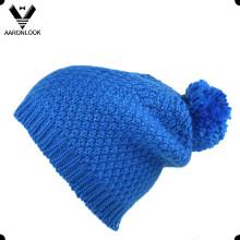 Зима теплая вязаная помпона шляпа с подкладкой