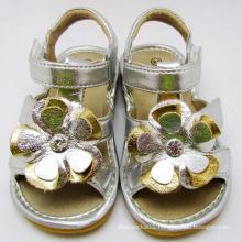 Sliver Big Flower Baby Squeaky Sandals