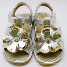Sliver Big Flower Baby Squeaky Sandals