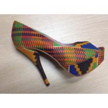 New African Printed Fabrics Fashion High Heel Shoes (HCY02-1357)