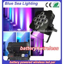 9x18w führte Batterie drahtlos rgbwa uv 6in1 runde flache par Licht