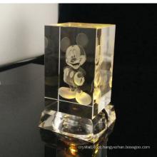 3D Laser cristal Cartoon Mouse com cristal MultiColor levou Base clara