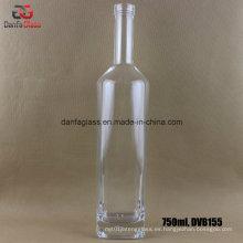 Botella de ginebra de vidrio Vodka 750ml con bartop (DVB155)