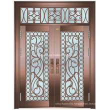 Iran Style Exterior Security Steel Iron Copper Glass Door (W-GB-10)
