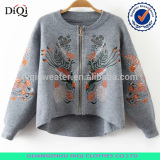 Fashion spring winter embroidery jacket for women ladies new batwing sleeve sweater jacket