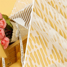 Tecidos de poliéster tricotado em jacquard de renda branca
