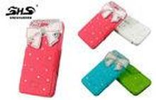Leather Cell Phone Cases with Bowknot Jewelry Stand PU Wall